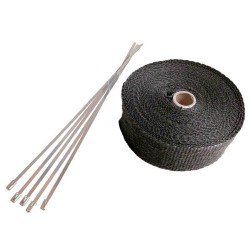 20 Meter Exhaust Heat wrap tape pipe heatproof BLACK + 10 Clamp