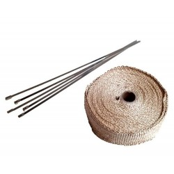 30 Meter Exhaust Heat wrap tape pipe heatproof BEIGE + 15 Clamp