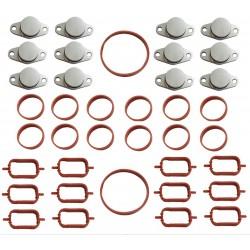 2 x Gasket Kit 13 pcs + 6 Swirl Flap Blanking Plates 32mm BMW 330d 335d 525d 530xd 635d 730d