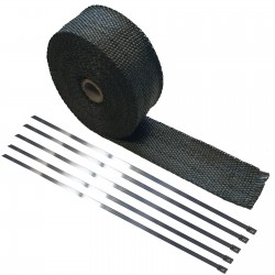10 Meter Exhaust Heat wrap tape pipe heatproof BLACK + 5 Clamp