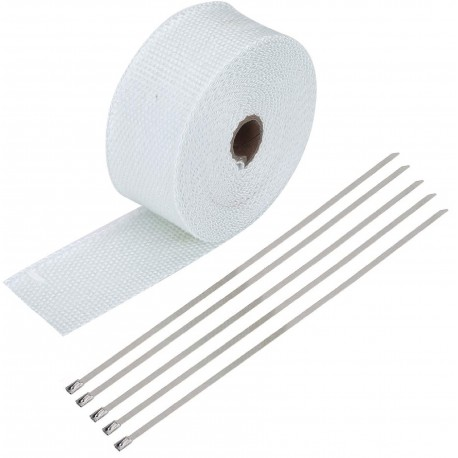 10 Meter Exhaust Heat wrap tape pipe heatproof WHITE + 5 Clamp