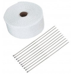 20 Meter Exhaust Heat wrap tape pipe heatproof WHITE + 10 Clamp