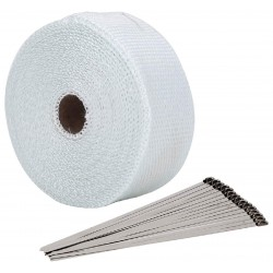 30 Meter Exhaust Heat wrap tape pipe heatproof WHITE + 15 Clamp