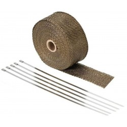 10 Meter Exhaust Heat wrap tape pipe heatproof TITANIUM + 5 Clamp