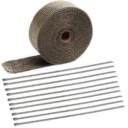20 Meter Exhaust Heat wrap tape pipe heatproof TITANIUM + 10 Clamp