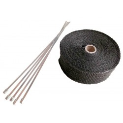 5 Meter Exhaust Heat wrap tape pipe heatproof BLACK + 5 Clamp
